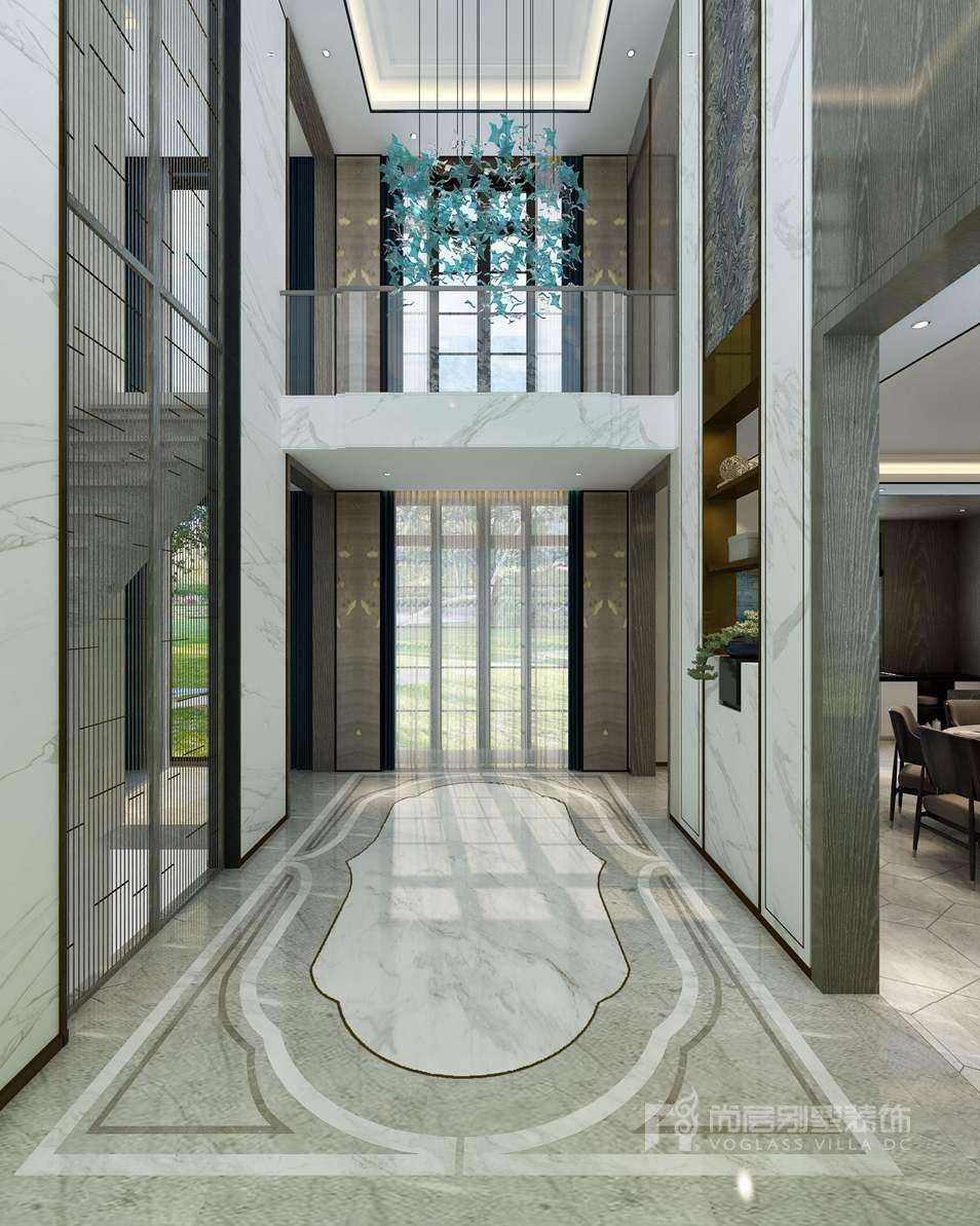 紫禁壹号院合院别墅新中式风格门厅装修效果图