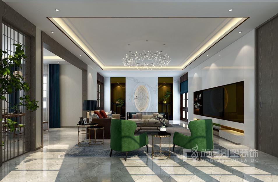 紫禁壹号院合院别墅新中式风格客厅装修效果图