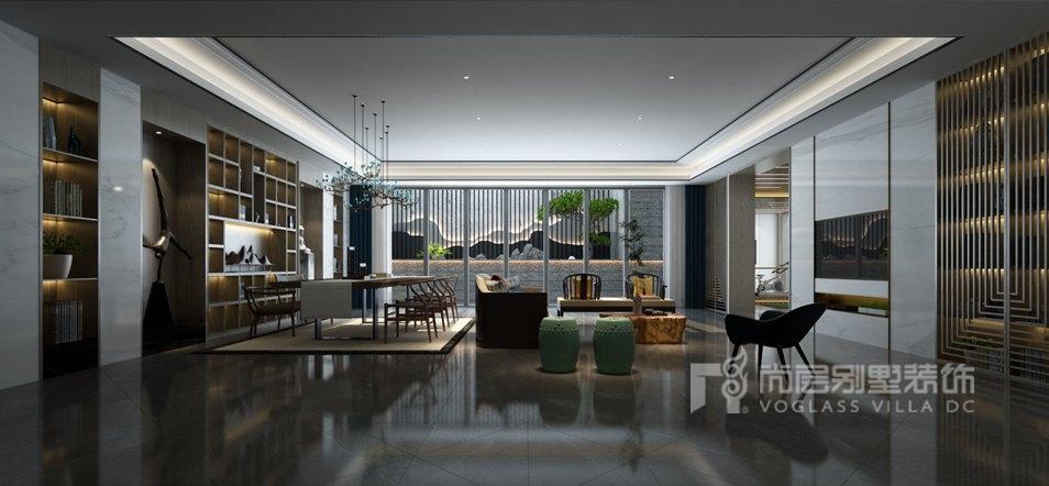 紫禁壹号院合院别墅新中式风格休闲厅装修效果图