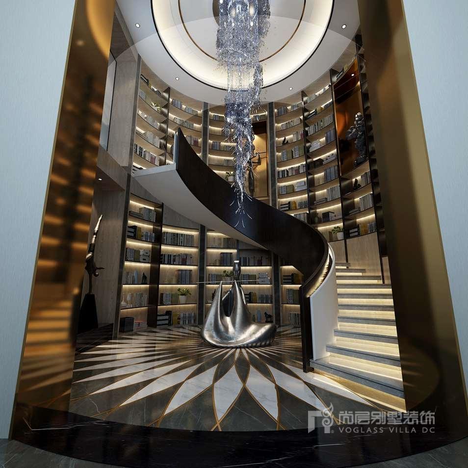 紫禁壹号院合院别墅新中式风格阅览室装修效果图