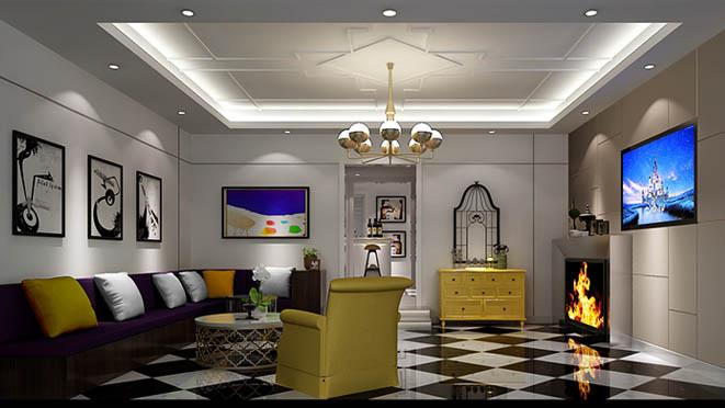 天鹅堡别墅现代简欧风格客厅装修效果图