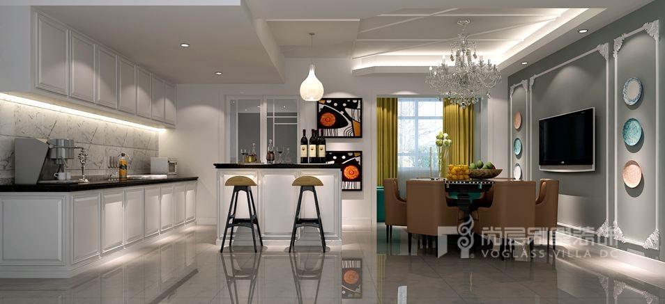 天鹅堡别墅现代简欧风格餐厅装修效果图