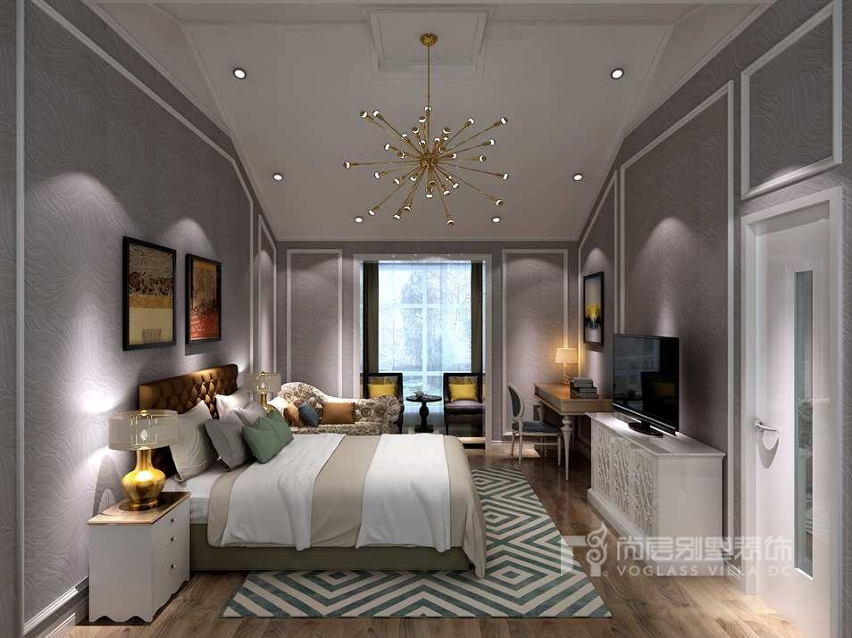 天鹅堡别墅现代简欧风格主卧装修效果图图片