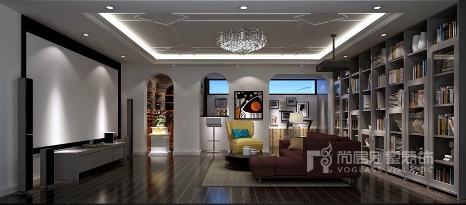 天鹅堡别墅现代简欧风格地下活动区装修效果图