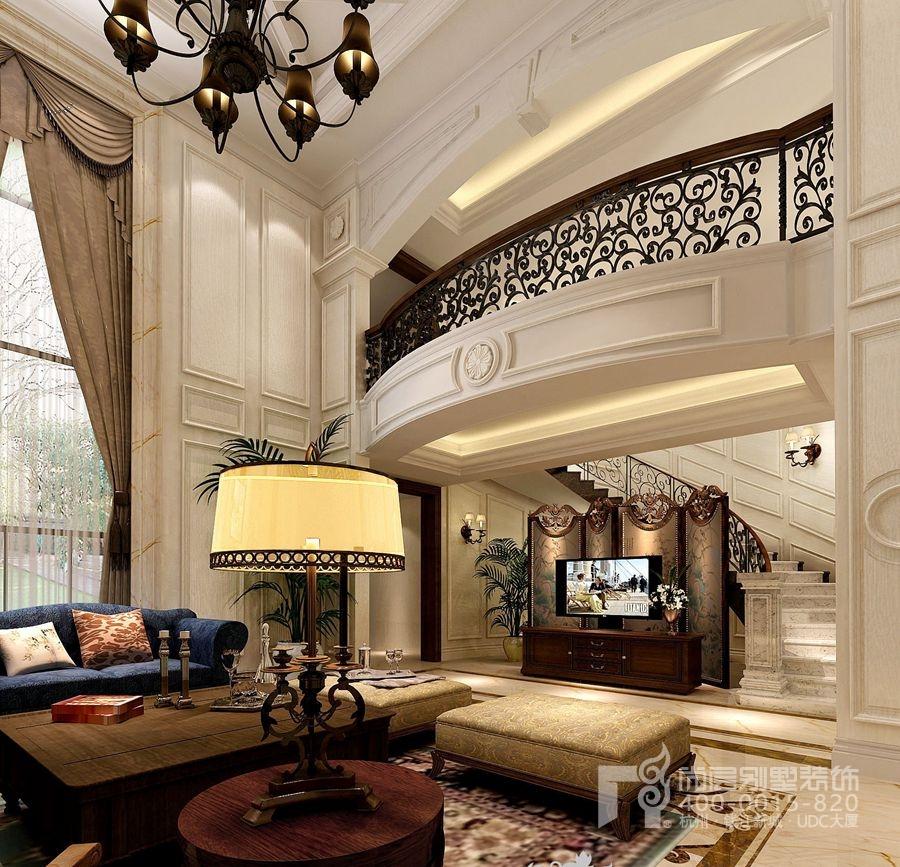 美式混搭风格别墅装修设计客厅的设计依托于结构,高挑高的户型