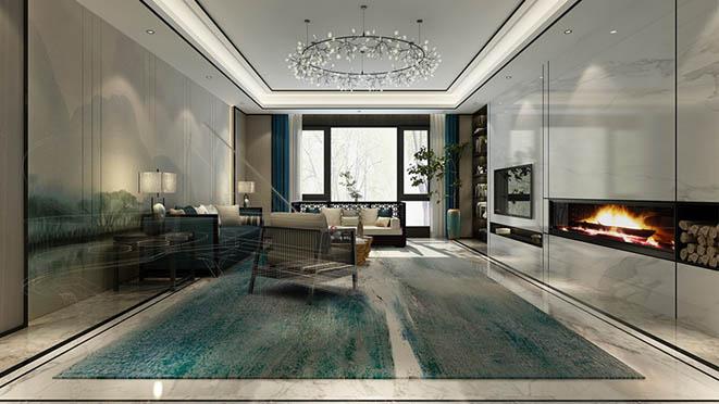 棕榈滩别墅新中式风格客厅装修效果图