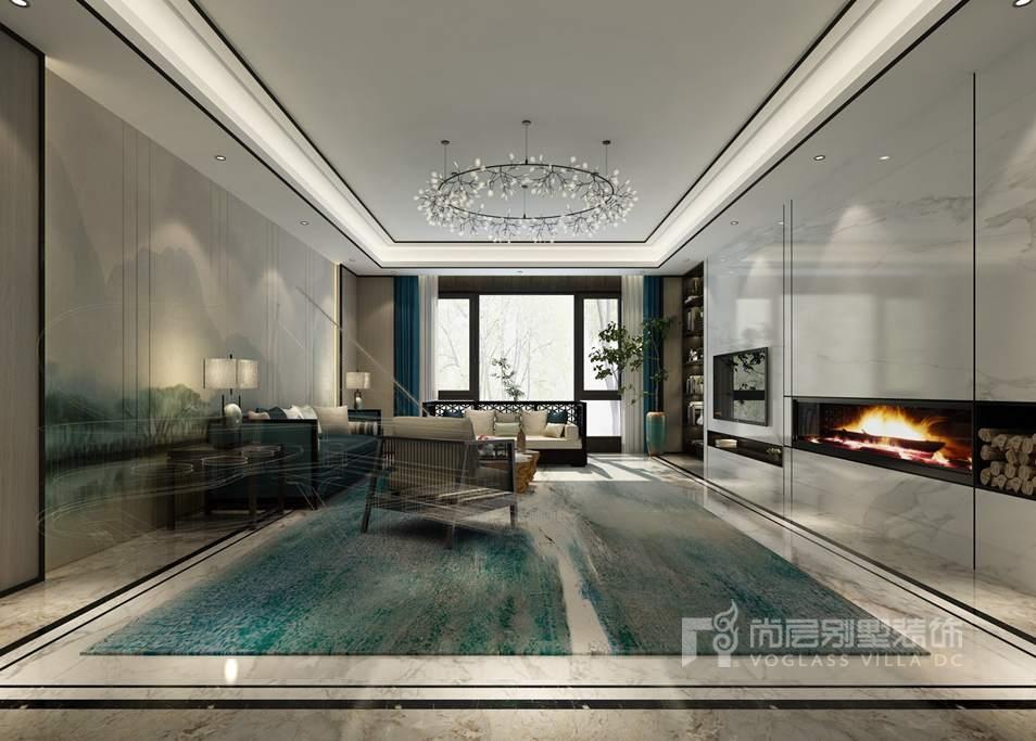 棕榈滩别墅新中式风格一层客厅装修效果图