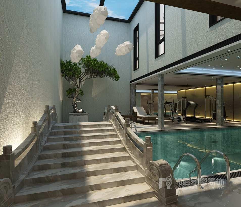 棕榈滩别墅新中式风格泳池装修效果图