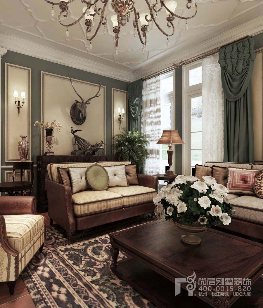 皇家花园美式田园乡村风格-客厅装修效果图