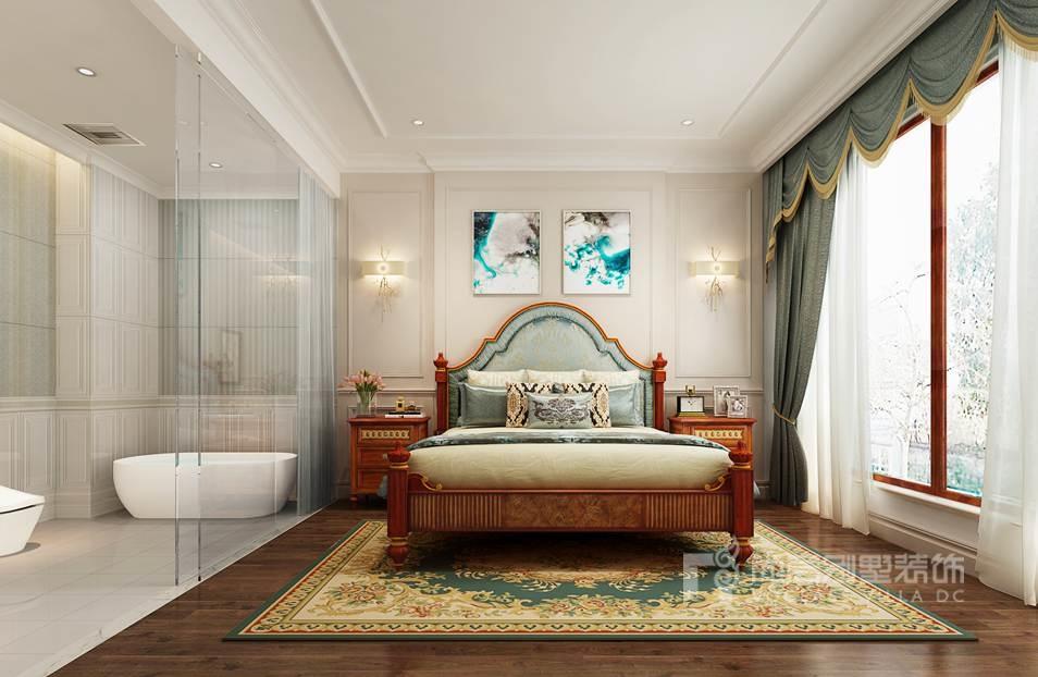 这个大别墅卧室装修效果图,采用深色的木地板与美式家具的融合,颇显