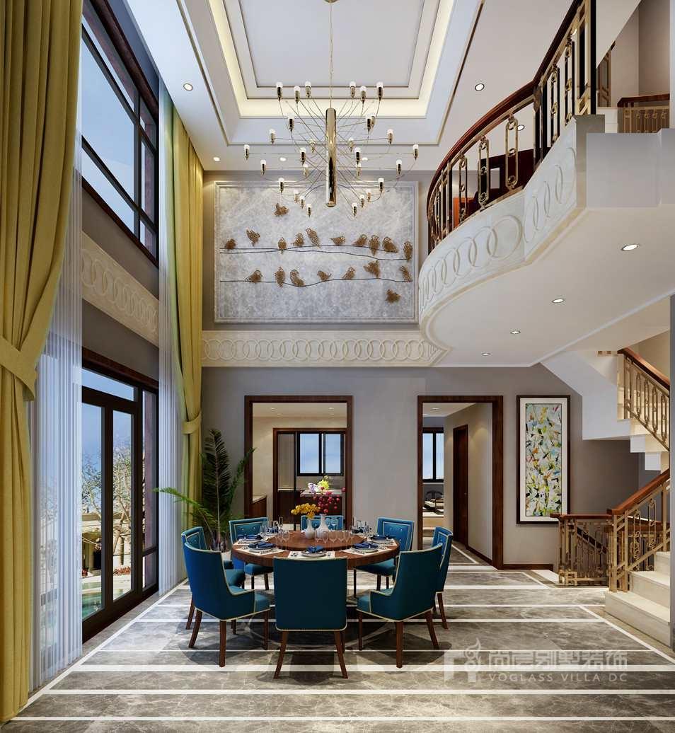 滟澜新宸新中式餐厅别墅装修效果图图片