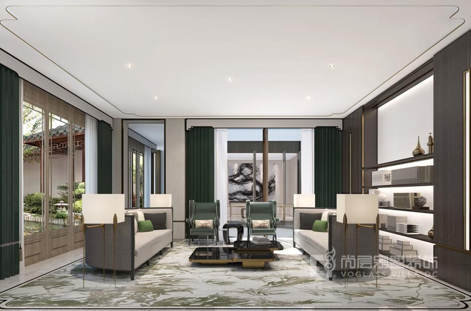 新中式客厅别墅装修效果图