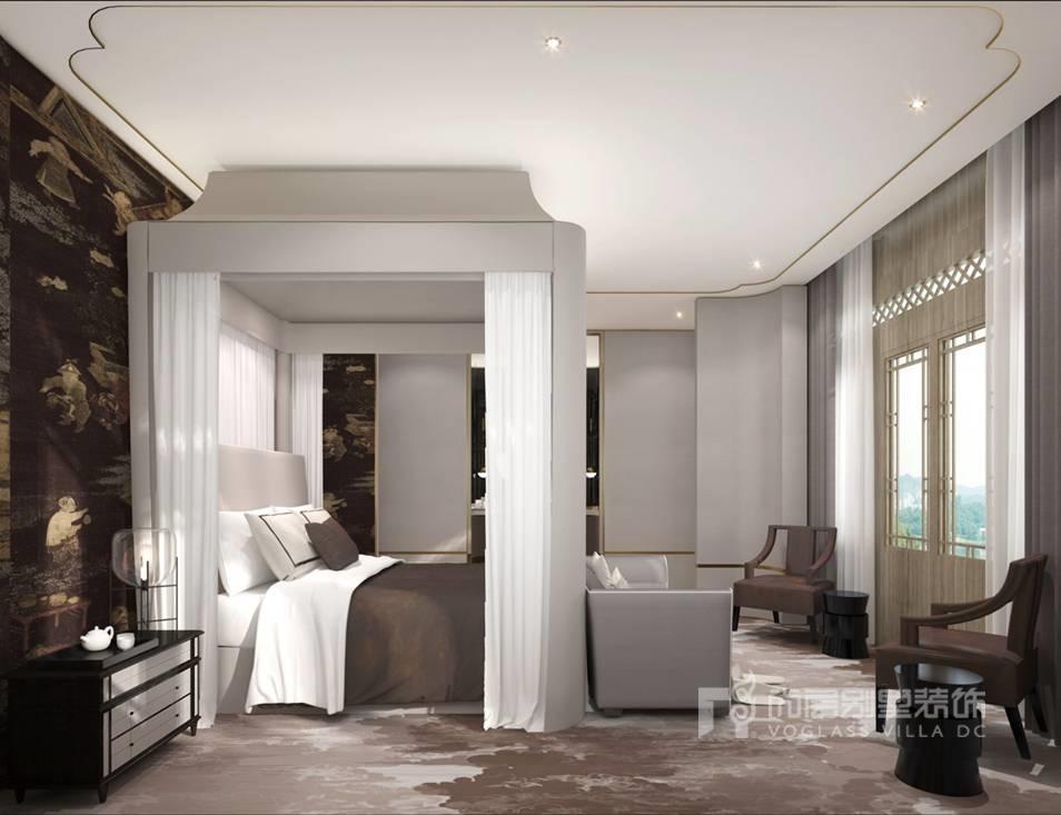 新中式卧室别墅装修效果图