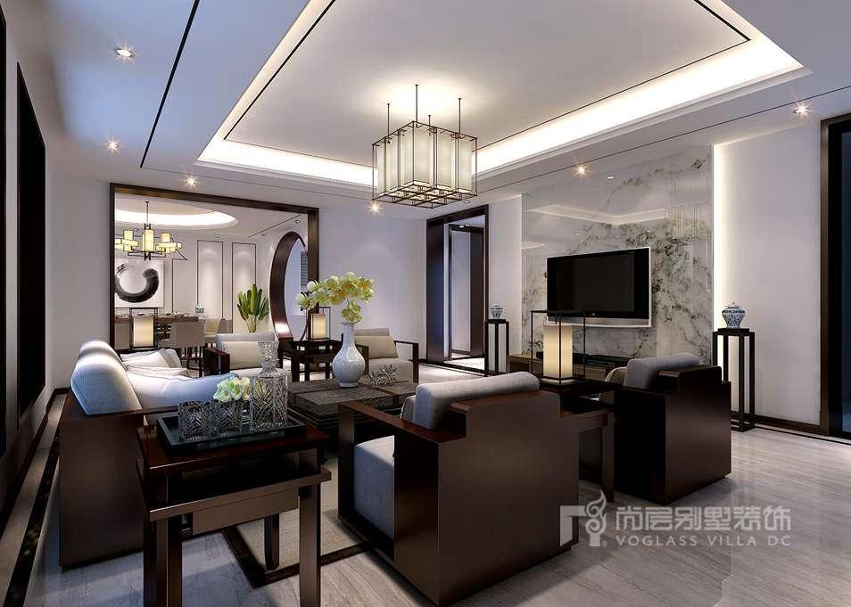 别墅装修效果图-新中式客厅