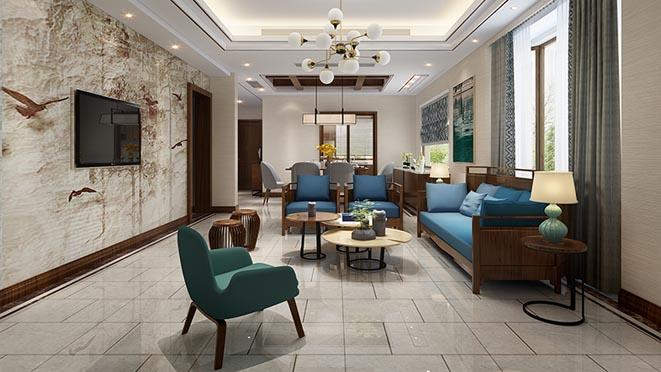 鲁能七号院新中式客厅别墅装修效果图