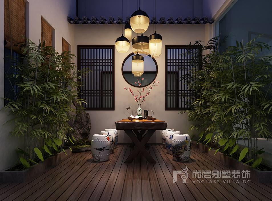 常熟山水桃源新中式地下室庭院效果图