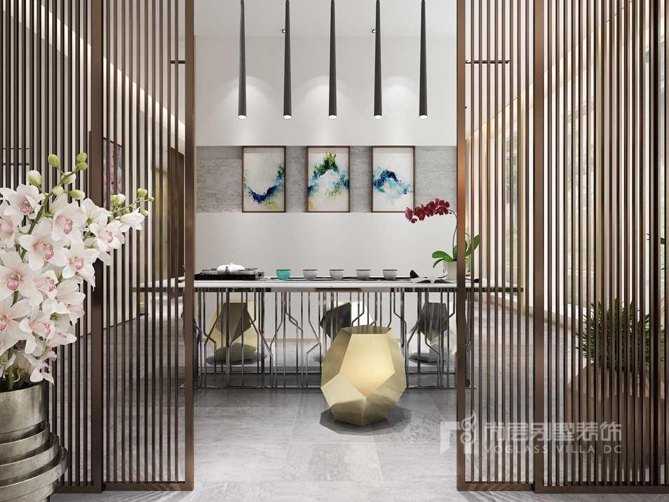 在开放的书房空间里,白色石材上镶嵌木板作为书柜,简洁自然,木质