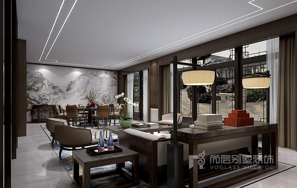 融创桃花源新中式风格客厅装修效果图