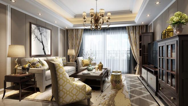 美式禅意客厅装修设计效果图