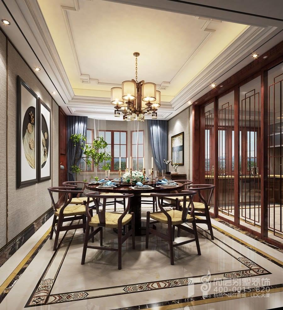 餐厅装修林语别墅新中式风格效果图