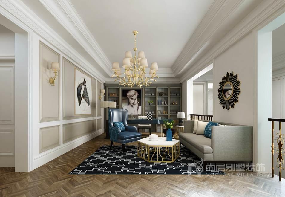 世家别墅大宅装修的书房采用精雕细琢的硬装配合着精致细腻的内饰手法