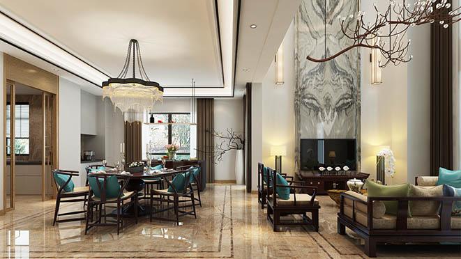 燕西华府新中式餐厅别墅装修效果图