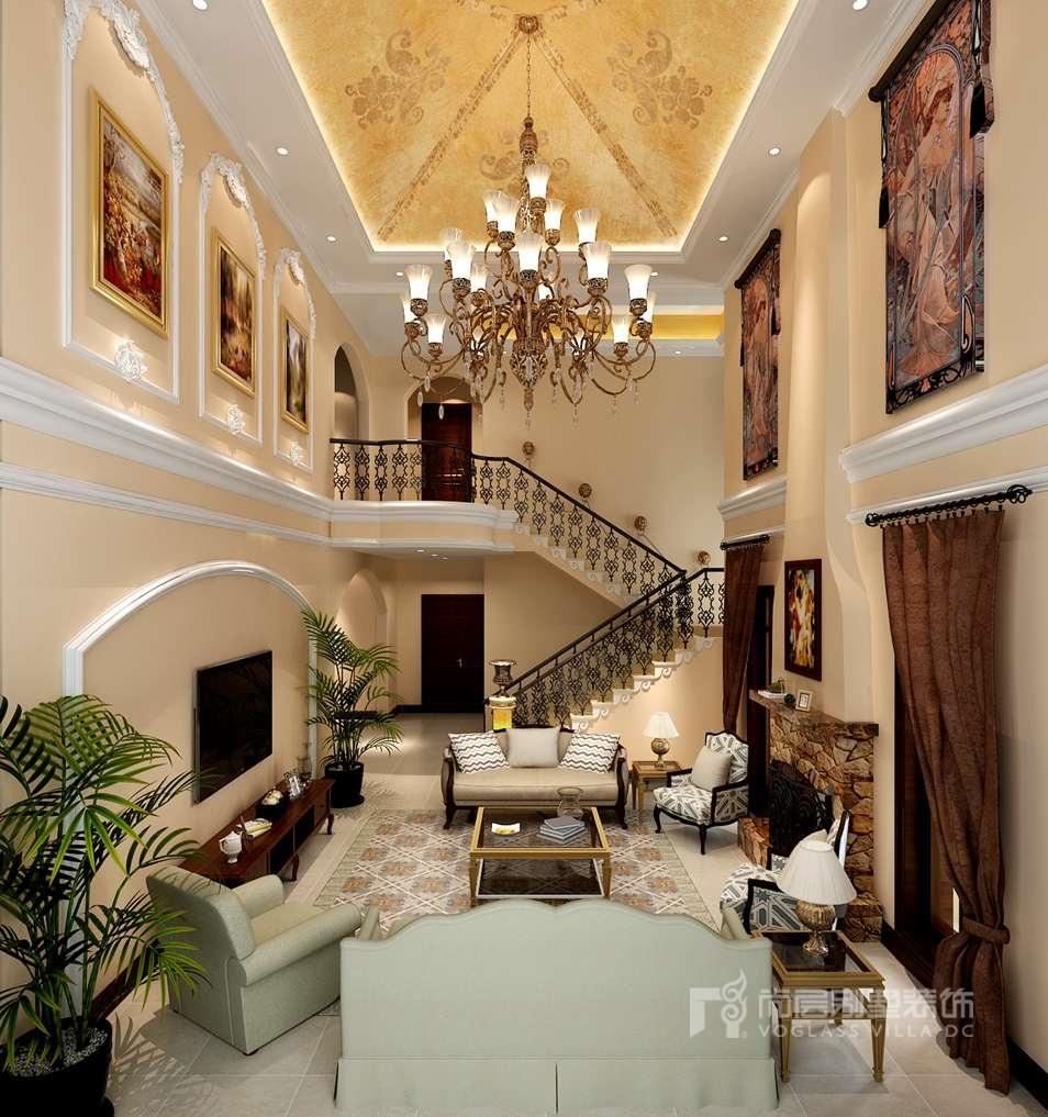 君山高尔夫托斯卡纳风格客厅别墅装修效果图