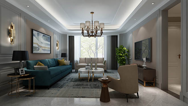 燕西华府现代美式客厅别墅装修效果图