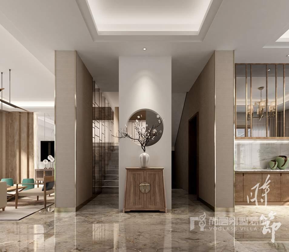 誉天下现代中式门厅别墅装修效果图