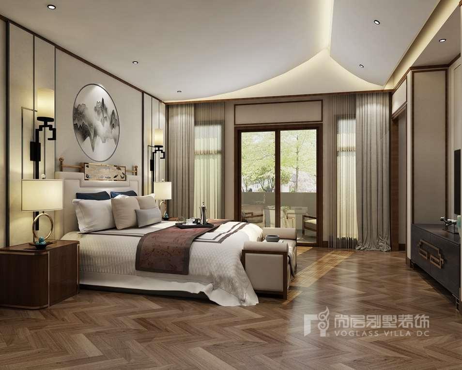 御汤山新中式卧室别墅装修效果图