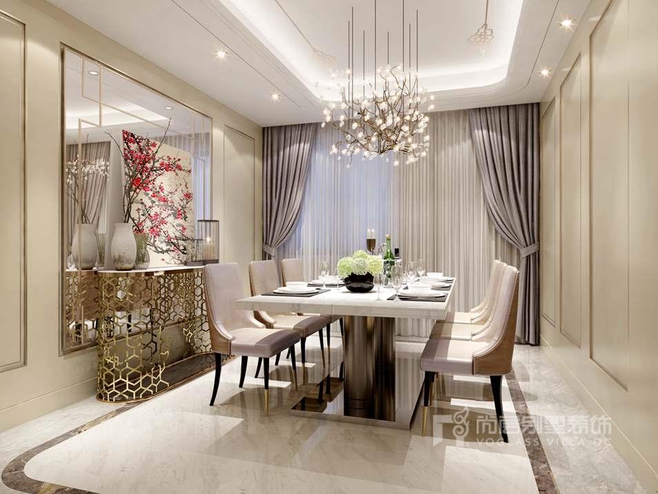案别墅客厅装修效果图运用内浅色的墙体配以深色亮面钢琴漆的木质家具