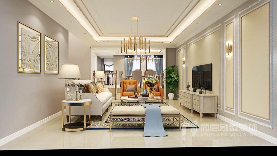 香江别墅现代美式会客厅别墅装修效果图