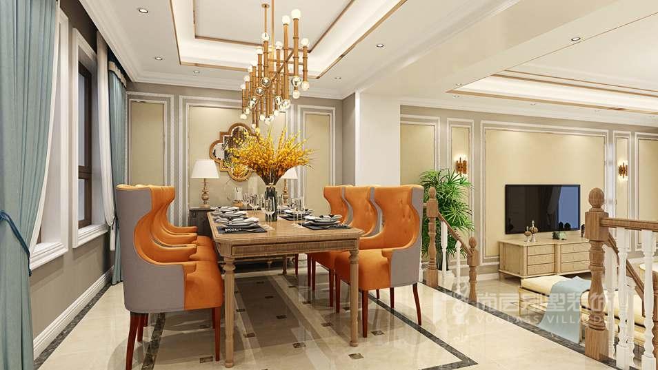 香江别墅现代美式餐厅别墅装修效果图