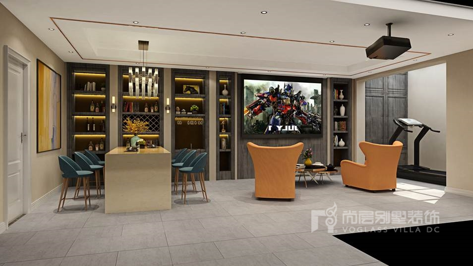 香江别墅现代美式地下室别墅装修效果图
