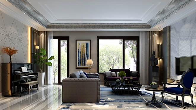 新世界麗樽美式簡約客廳別墅裝修效果圖