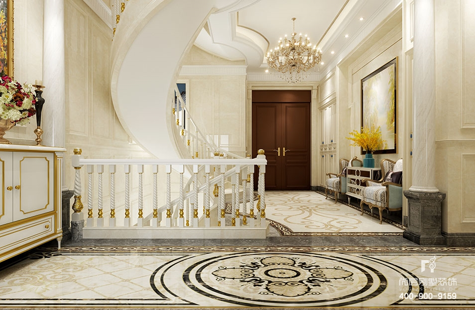 宁波尚层装饰---奉化玫瑰园760平米法式风格别墅装饰案例