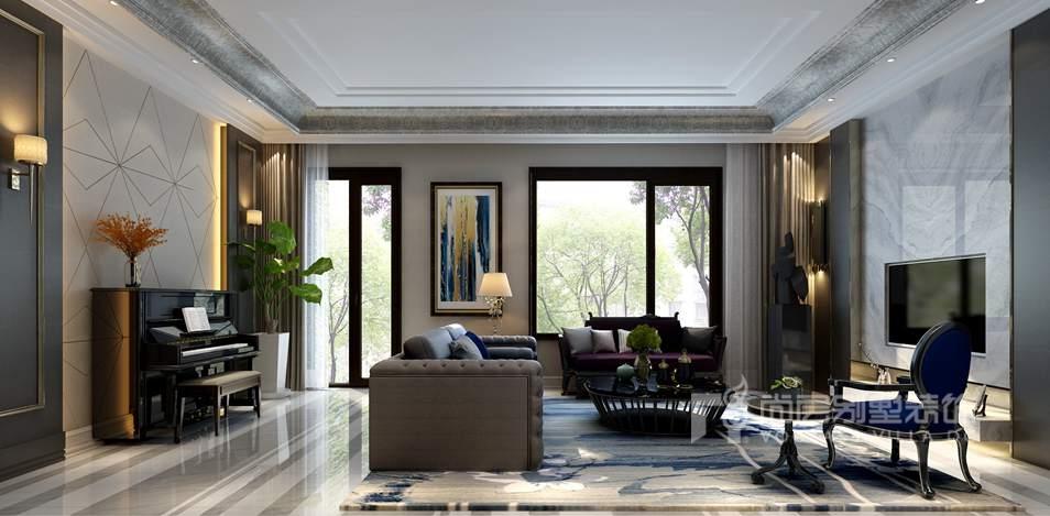 新世界丽樽美式简约客厅别墅装修效果图