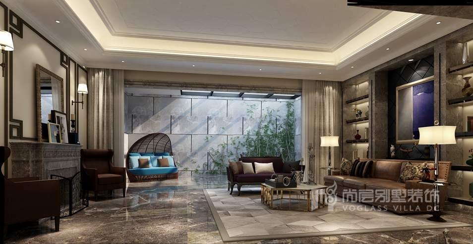 新世界丽樽美式简约地下客厅别墅装修效果图