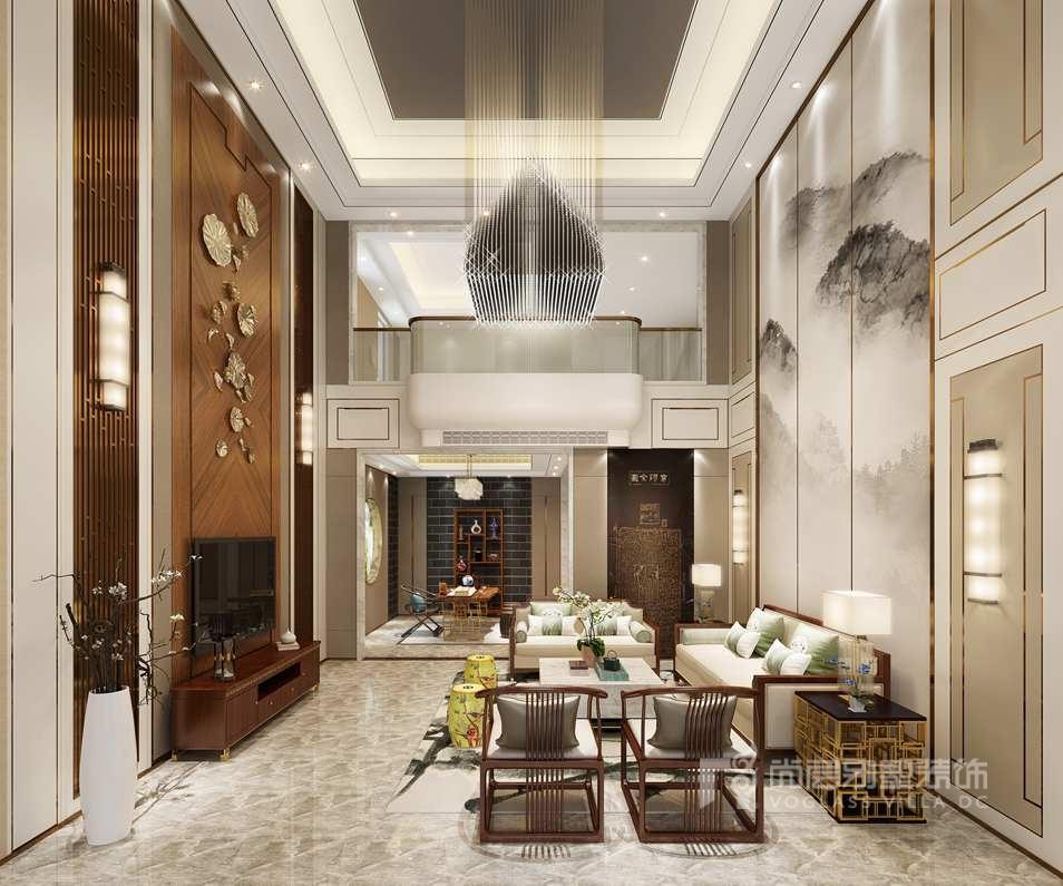 丽樽中式别墅装修客厅效果图