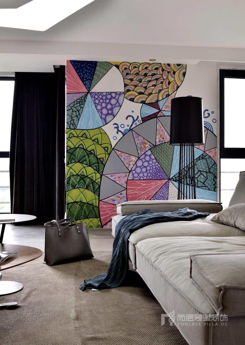 300平方米别墅设计案例-客厅实景图
