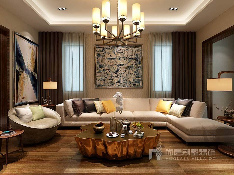 客厅后现代风格别墅装修图片采取自由混搭凸显设计自信,金属感的