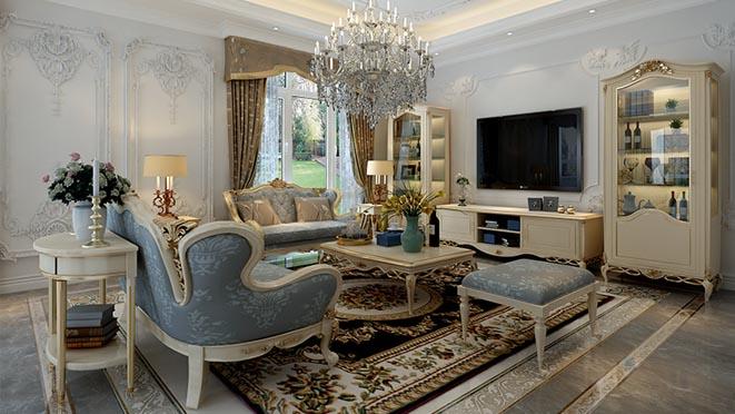 金地中央世家法式轻奢客厅别墅装修效果图