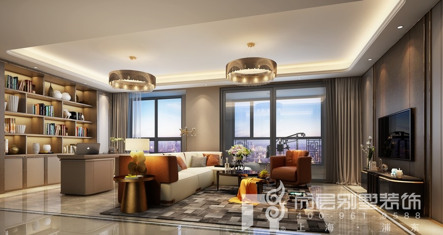 現代輕奢風格別墅客廳裝修效果圖