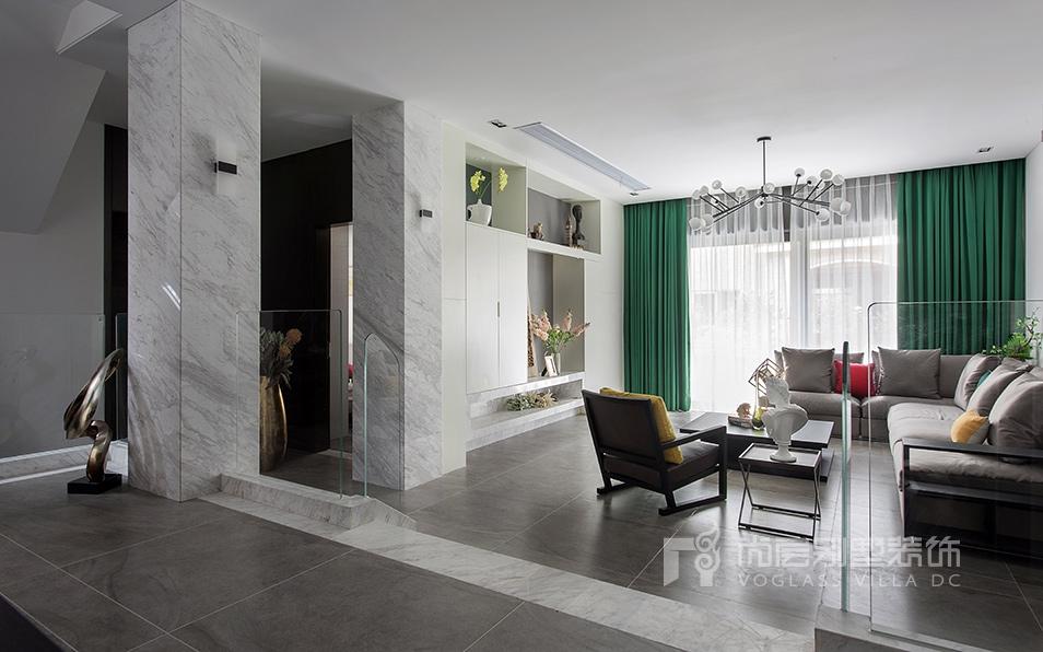 昆山市花都艺墅现代简约风格客厅装修实景图