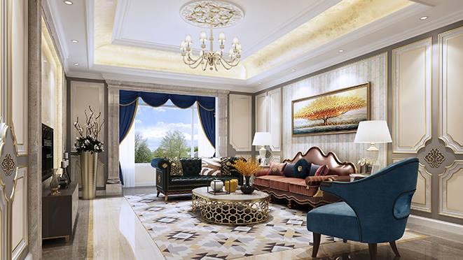 该龙湖天璞采用简约的欧式风格设计,尚层设计师何杰利用空间的层次感、特殊的图案来诠释高贵与典雅,同时融入了现代的生活元素,顶面以简约的线条代替复杂的欧式花纹,以明快清新的白色与灰蓝色展现奢华与美,变化的线条,自然的花纹及装饰让空间柔美、雅致,遒劲而富于节奏感,又体现了现代生活的舒适感。