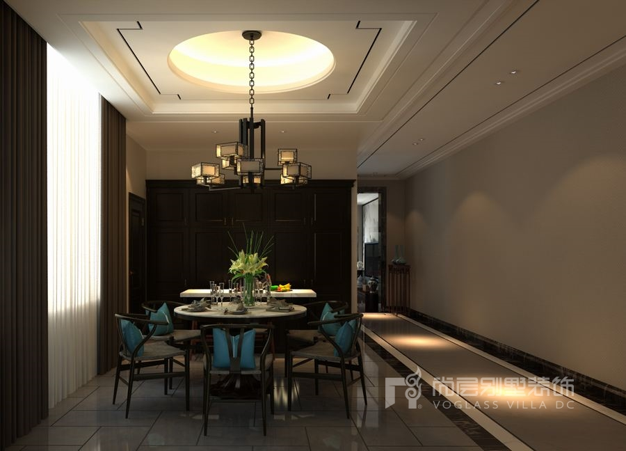 """别墅餐厅装修符合""""天圆地方""""的古朴理念,方正的线条,规整的圆顶,就像"""