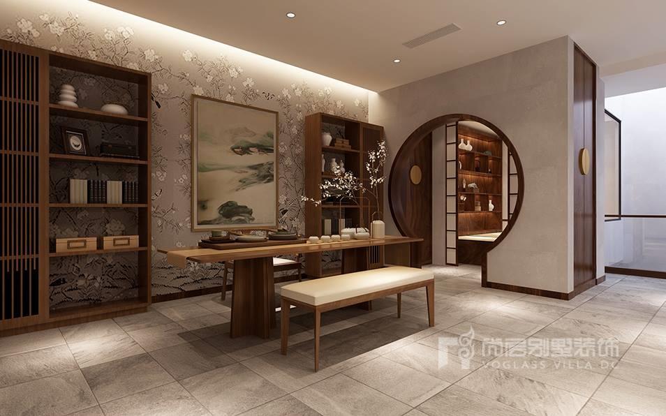 装修设计效果图       卧室沿用了一层礼仪空间的灰色调,地面未胡桃色