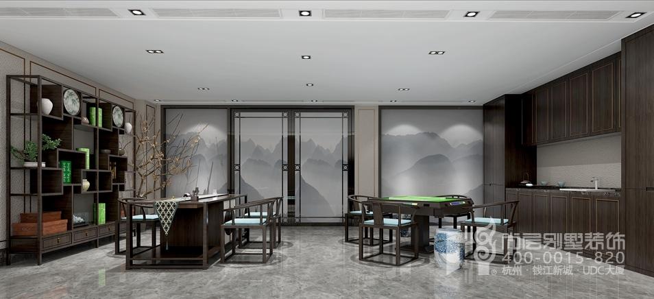 别墅新中式风格棋牌室装修效果图