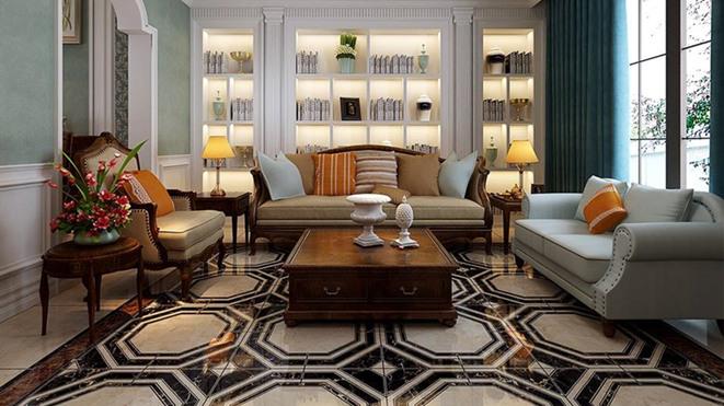 新新逸墅现代美式客厅装修效果图