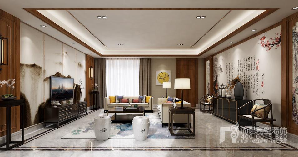 别墅客厅新中式风格装修设计效果图